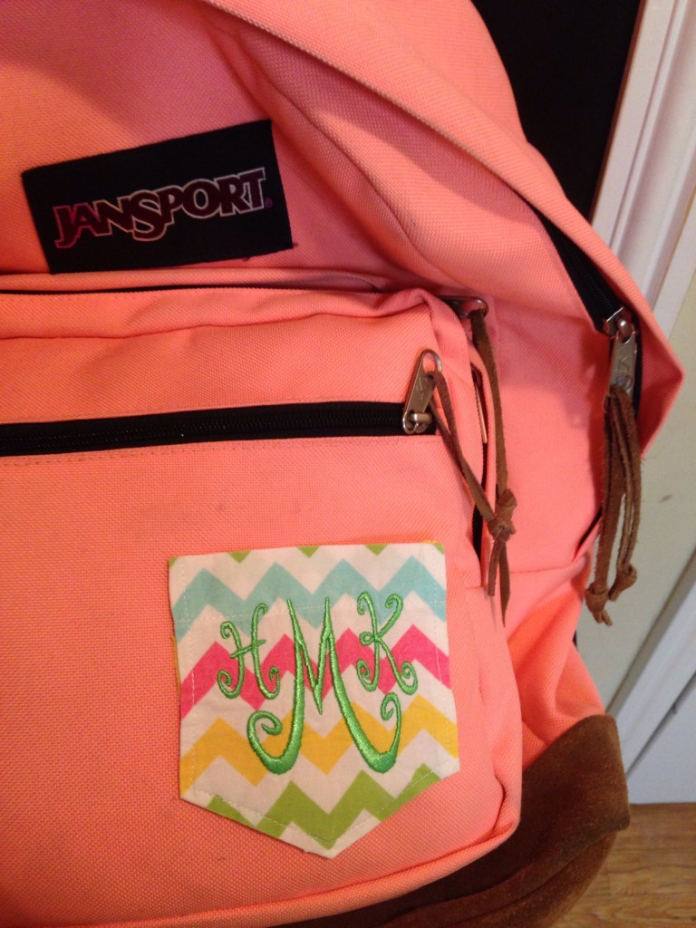 Monogrammed Pocket Patch on Backpack